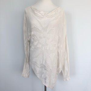BCBG Off-white Asymetrical Knit Top Shirt Size S